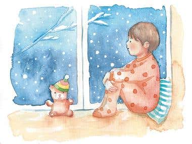 Watercolor children illustration and sketches
