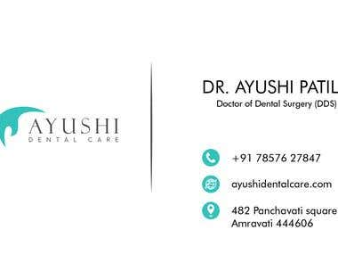 Ayushi Dental Care Logo and Bussiness Card