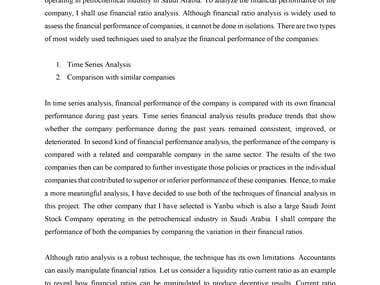 Academic Writing Financial Analysis of Petrochemical