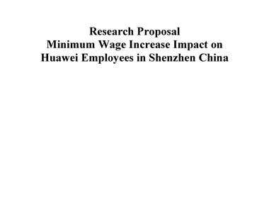"Research Proposal ""Impact of Increase in Minimum Wage"""