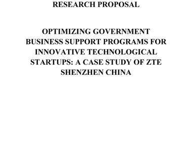"Research Proposal ""Optimizing Government Business Support"""