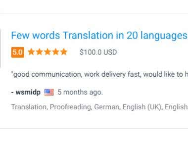 Translation in 20 Languages