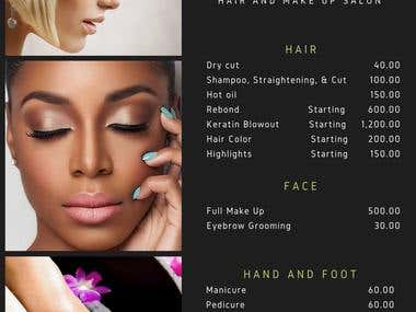 Menu of Services - Hair and Make Up Salon