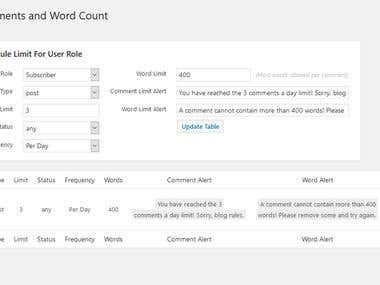 Limit Comments and Word Count Plugin