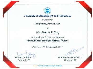 Certification on Advance Quantitative Analysis through STATA