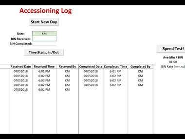 Data Entry / Accessioning Log & Speed Test