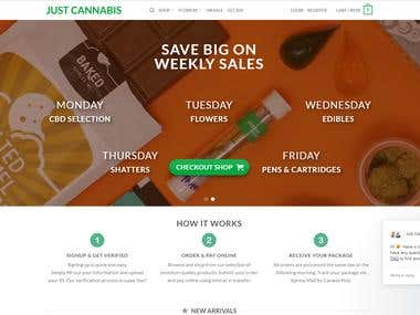 JUST CANNABIS Shopping Website - Wordpress