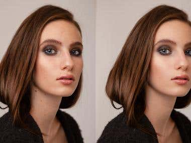 Before and after retouch