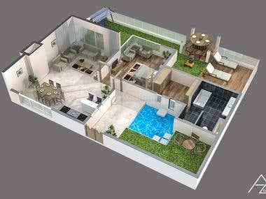 3d Floor plan Renders