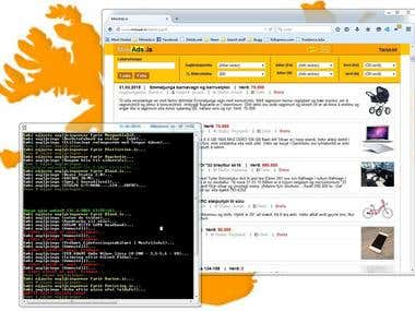 Screenshot of miniads.is dataminer and web interface