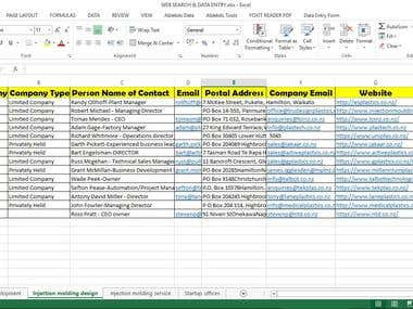 Web Research & Data Entry from Specific category companies