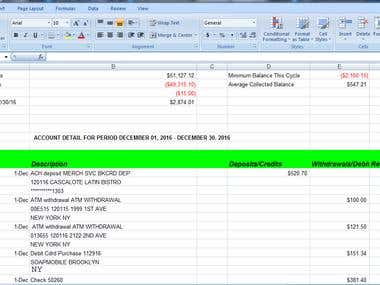 Bank Statements from PDF to Excel