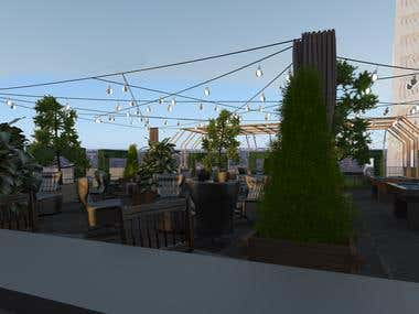 Roof Top Retro Bar Design+Render
