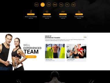 One page PSD Design for fitness