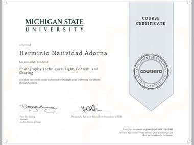 Photography Certificate from Michigan State University USA