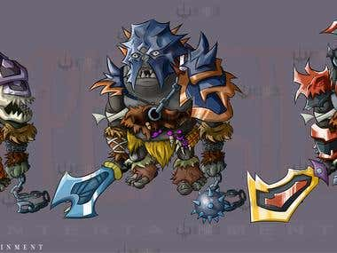 gaming characters with upgrades