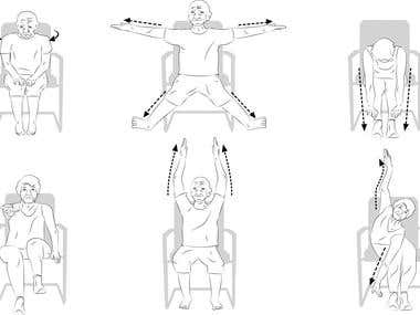 Line art for old folks exercise positions