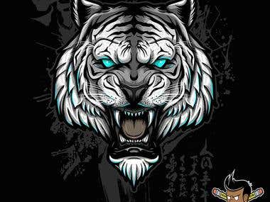 artic tiger and bengal tiger t shirts illustration