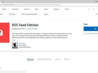 RSS Feed Fetcher - A Microsoft Store Application (UWP)