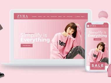 ZYRA Ecommerce website PC & Mobile visual