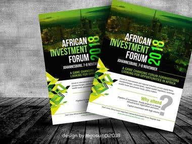 FLYER DESIGN AFRICAN INVESTMENT FORUM 2018