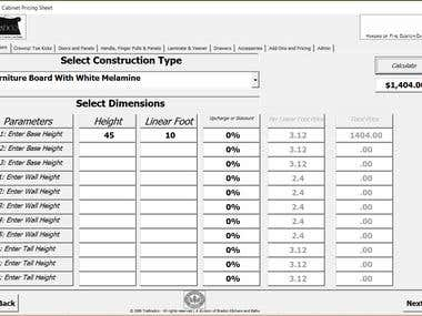 Estimator/Pricing Calculator