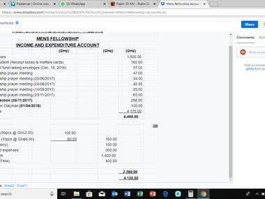 Income statement for a small church