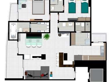Humanized plan / Planta humanizada de um apartamento