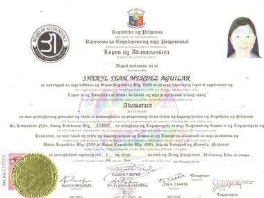 Certificate as CPA