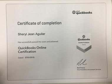 Certificate as Quickbooks Online Pro Advisor