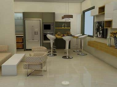 Architectural 3D Rendering (Modular Kitchens)