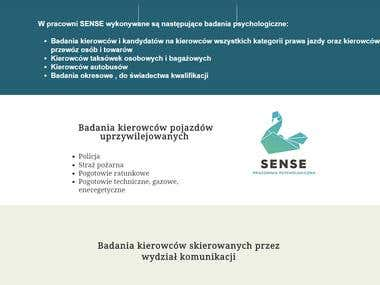 """Strona internetowa """"sensepracowniapsychologiczna.pl"""" Piotr P"""