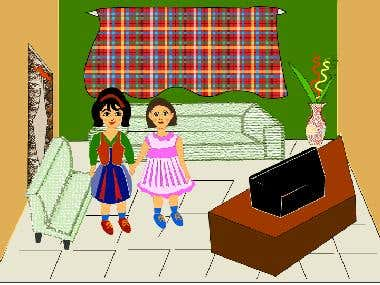 Two girls standing in living room