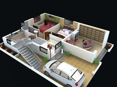 3d and 2d floor plan