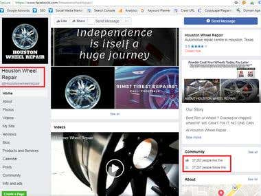 HoustonWheelRepair - Facebook Achievements | SMO