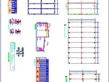 Steel Building drawing with Auto Cad 2D.