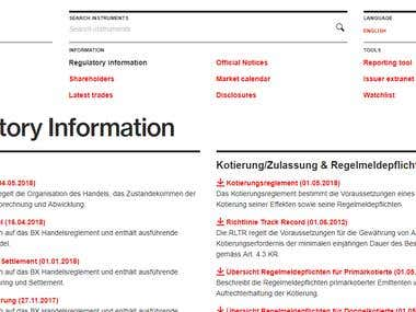 Swiss Exchange Website translation into English from German