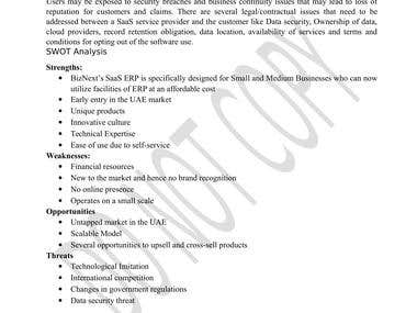Business plan Regulations and SWOT snippet