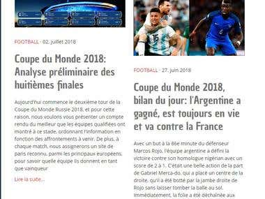Sports articles in french
