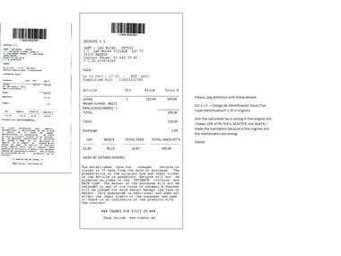 Translation of receipt 2