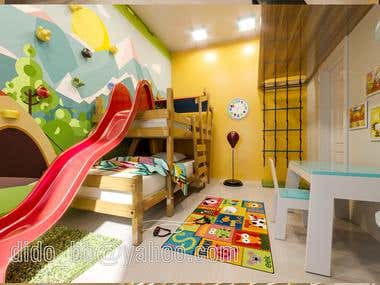 3D Bedrooms and living rooms