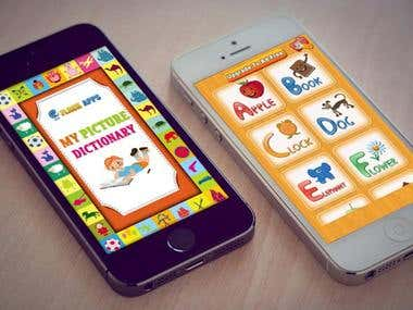 Kids Picture dictionary - elearning games, Flash cards.