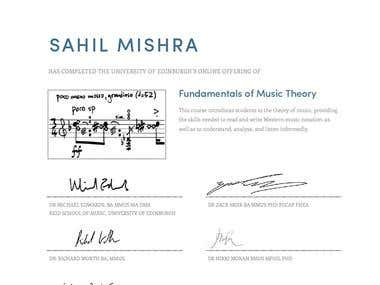 Fundamental of Music Theory course passing certificate