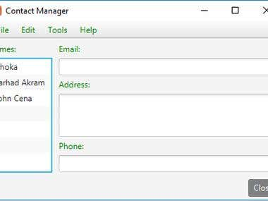 Contact Manager using JavaFx