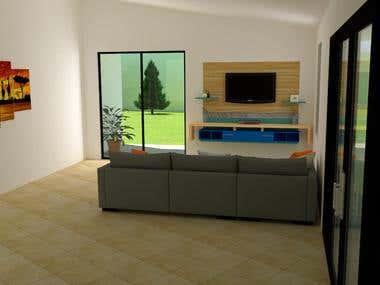 3D Interior Design/Rendering of Room