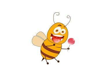 Cute Bee with Lollipop.