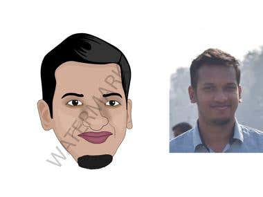 caricature design of girl and boy ..