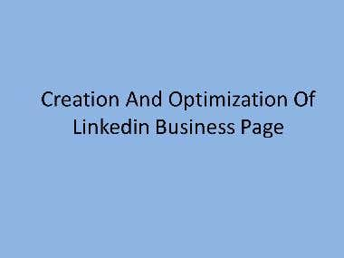 Creation and Optimization of Linkedin Business Page