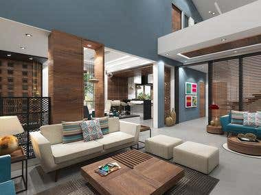 Living Dining and Kitchen Interior Designing and Rendering