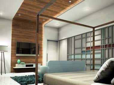 Master Bedroom Lavish -Teal Theme Design and Render
